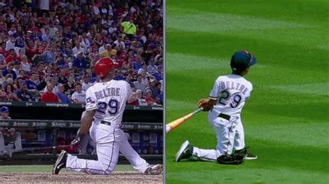 adrian beltre swing adrian beltre s son does perfect impression of dad s swing