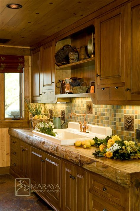 butlers pantry  rustic wood counter farmhouse