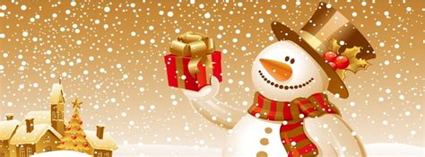 merry christmas snowman gift facebook cover photo fbcovercom