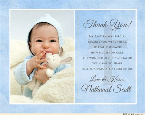 thank you card baptism template powerpoint blue single photo christening thank you baby boy