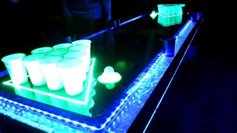 Led Pong Table clear plexiglas led moat pong table with auto washers