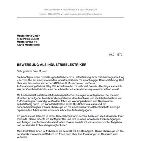 Bewerbung Neue Herausforderung Bewerbung Als Industrieelektriker Industrieelektrikerin Bewerbung Co