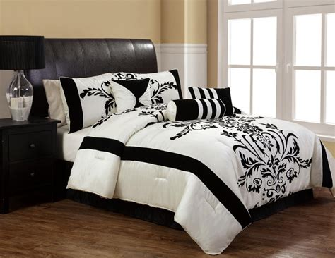 black and comforter set 7pcs salma black and white flocking comforter set