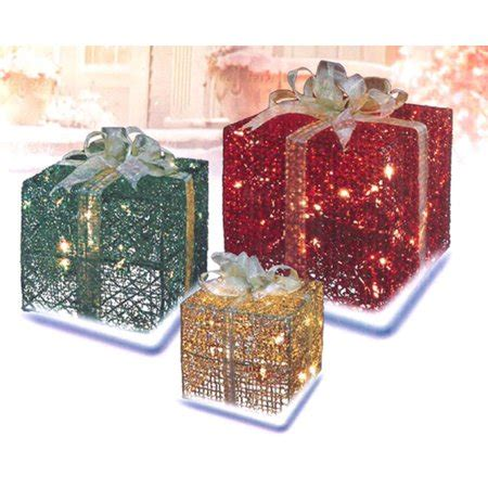 sylvania 3 piece lighted gift box set christmas outdoor yard decor 3 glittering gift box lighted yard decoration set walmart