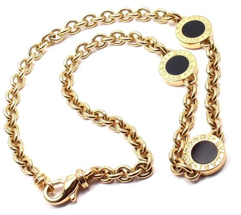 Onyx W Chain Link Necklace by Bulgari Black Onyx Link Yellow Gold Necklace For Sale At