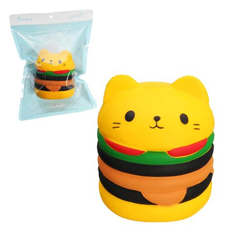 Soft And Slowrise Squishy Vlo Burger squishy cat burger 10cm hamburger soft rising 10s with packaging collection gift decor