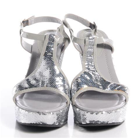 fendi sequin wedge platform sandals silver 40 5 75251