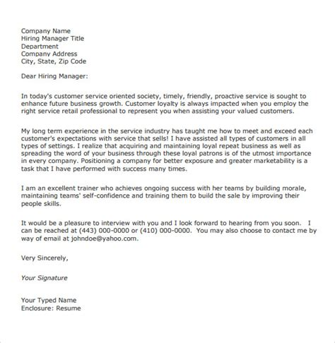 Customer Service Letter general customer service cover letter