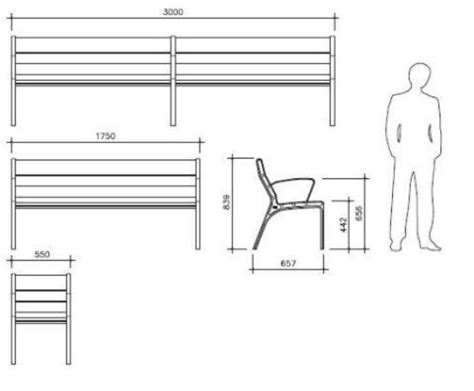 standard bench dimensions street bench dimensions google search anthropometric