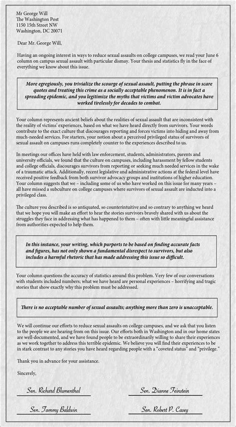 Petition Senators Letter Senators Criticize George Will For Trivializing Sexual Assault