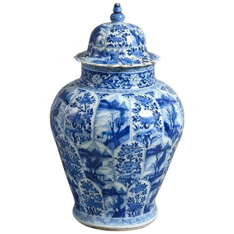 Porcelain Vase by Early 18th Century Blue And White Kangxi Period Porcelain
