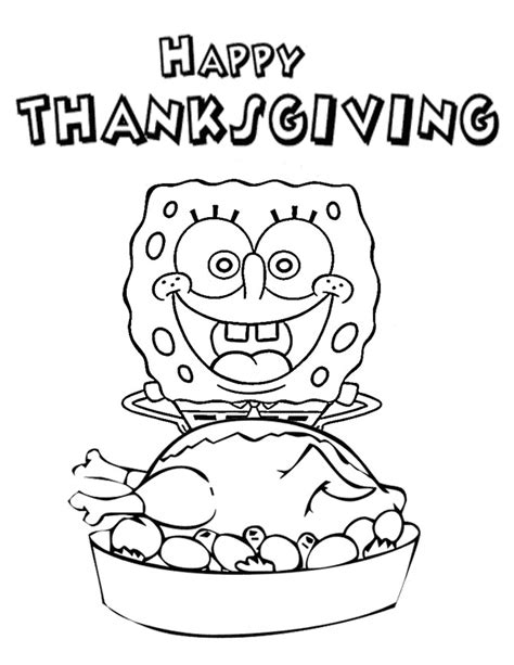 spongebob thanksgiving coloring pages spongebob loves turkey thanksgiving coloring page h amp m