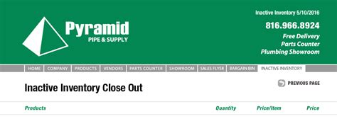 Pyramid Plumbing Supply pyramid pipe and supply inactive plumbing supply product