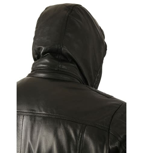hooded leather jacket mens quot retro quot s hooded black leather bomber jacket from simons leather