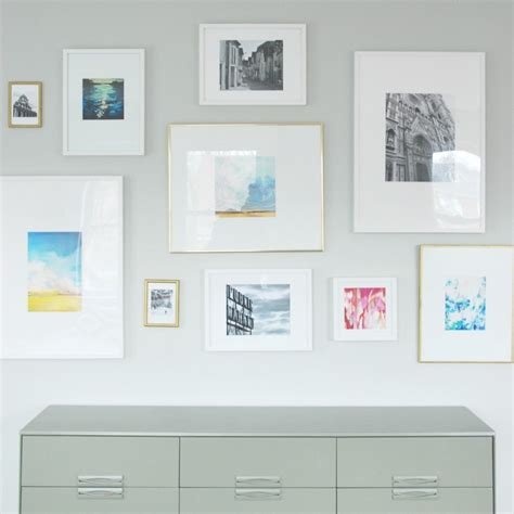 gallery wall with ikea ribba ledges interiors by kenz hometalk gallery wall diy mattes for ikea ribba frames