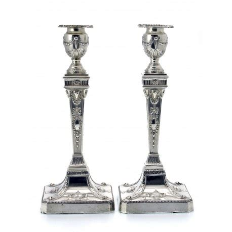 silver candlestick by loofs adam pair of neoclassical silver adam style candlesticks c 1901