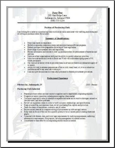 purchase resume format purchasing resume occupational exles sles free edit