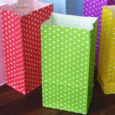 Standing Favor Bags 1000pcs favor bag birthday stand up colorful polka dots paper bags wholesale bag open top
