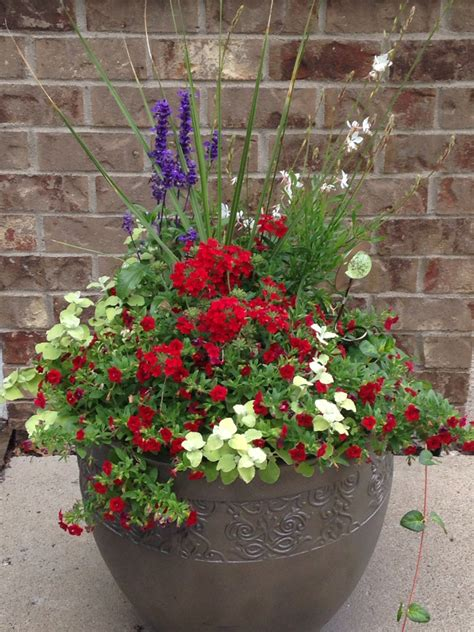 Red White And Blue Planter Container Gardening Flower Pot Gardens