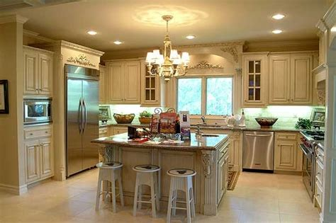 classic white wooden galley kitchen with square kitchen