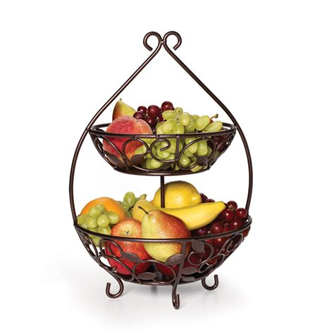 two tier fruit basket bowls storage and unique
