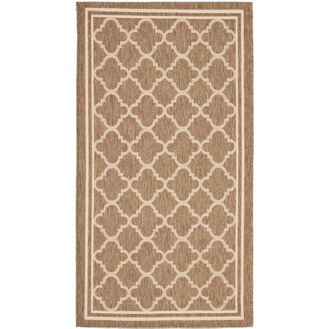 Safavieh Courtyard Brown Bone 2 Ft 7 In X 5 Ft Indoor Outdoor Rugs Home Depot