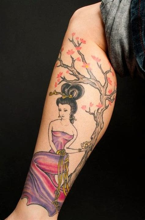geisha n cherry blossoms tattoo on leg tattoos book 65