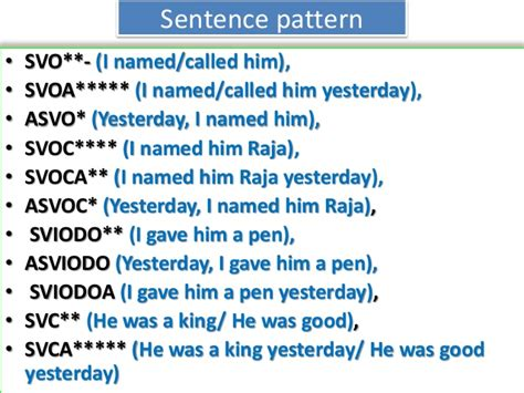 sentence pattern in tamil english material for slow learners of hsc students of