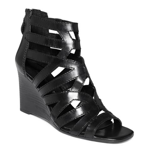 franco sarto black sandals franco sarto hazy wedge sandals in black lyst