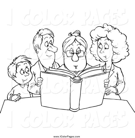 family reading coloring page family reading clipart black and white clipartxtras