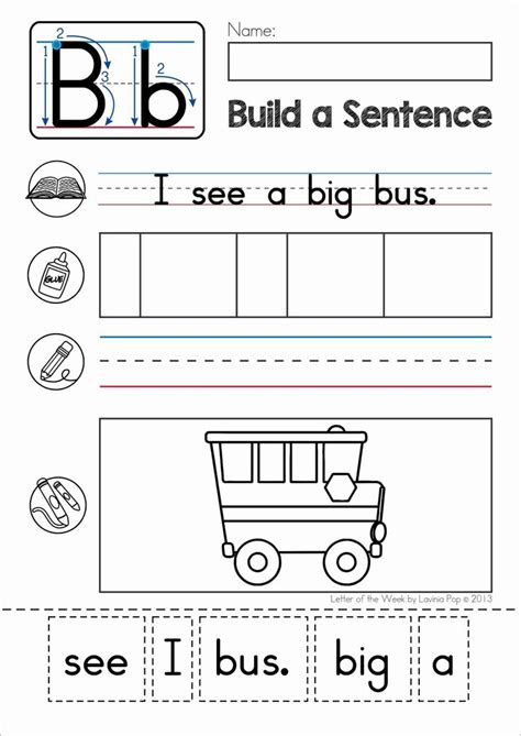 5 Letter Words Phonics phonics letter of the week b build a sentence cut and