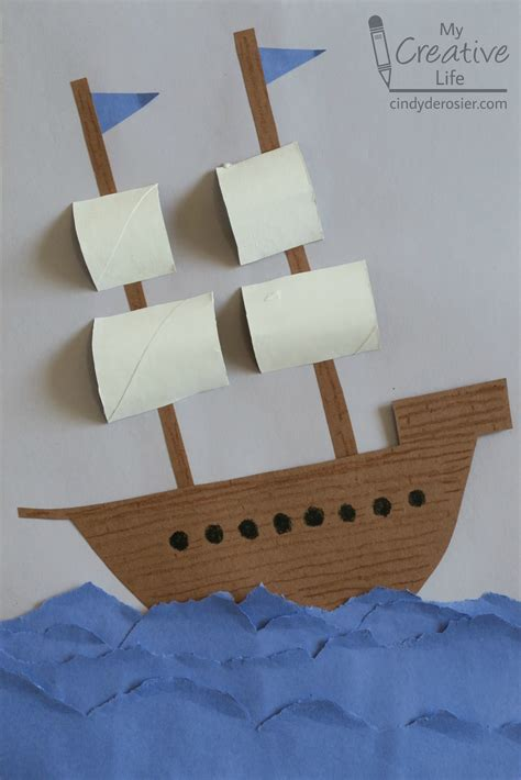 Crafts Made From Paper - construction paper explorer ship family crafts