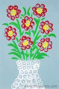 Design Of Vase Painting Okra Stamping Craft Kids Crafts Firstpalette Com