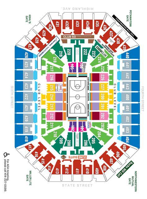 bucks seating chart seating maps milwaukee bucks