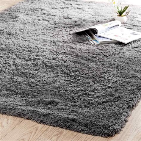 long shag rug inuit fabric long pile rug in grey 160 x 230cm maisons