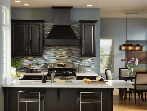 Blue Kitchen Walls With Brown Cabinets Blue Kitchen Walls With Brown Cabinets Alkamediacom Exitallergy