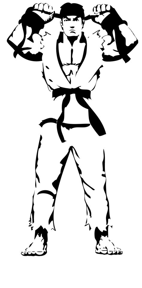 street fighter ryu stencil by branbot on deviantart