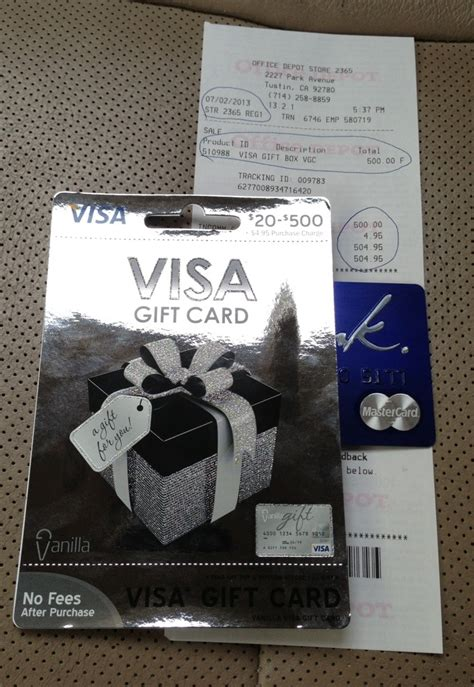 Vannila Gift Card - 500 visa gift cards return to office depot frequent miler