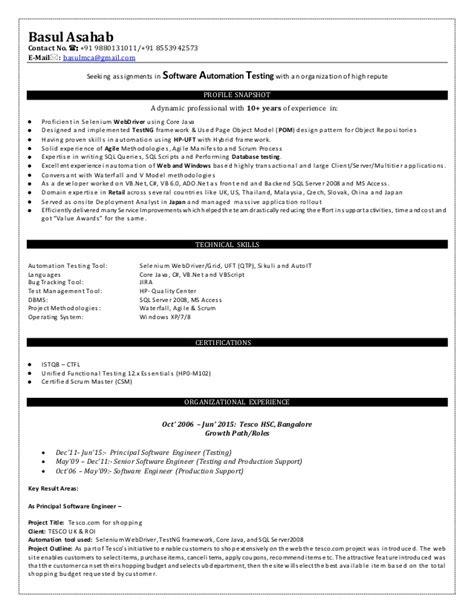 selenium automation testing resume 53 images selenium resume student resume template it