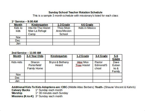rotation schedule template sle rotation schedule template 15 free documents in