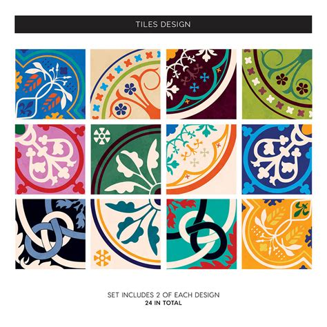 moroccan tiles stickers pack of 16 tiles tile decals colourful moroccan tile stickers set pack of 24 by sirface