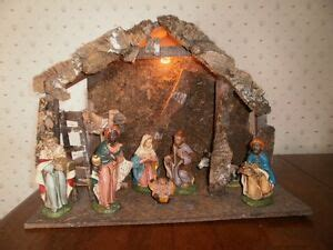 italian nativity creches vintage nativity set made in italy 7 pcs include creche stable ebay