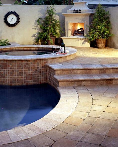 pool spa fireplace pavers coping from five pavers
