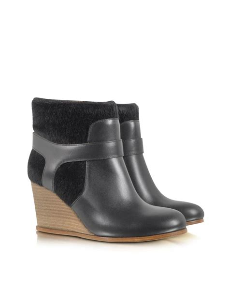 black eco fur and leather wedge bootie shoes post