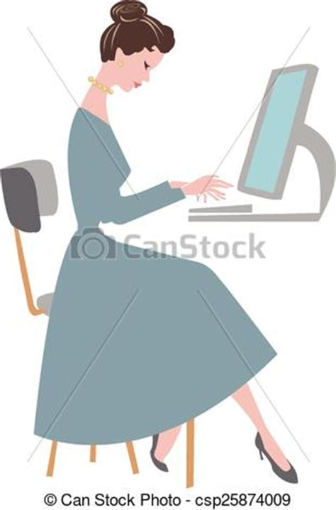 can stock photo clipart vector clipart of typing office worker