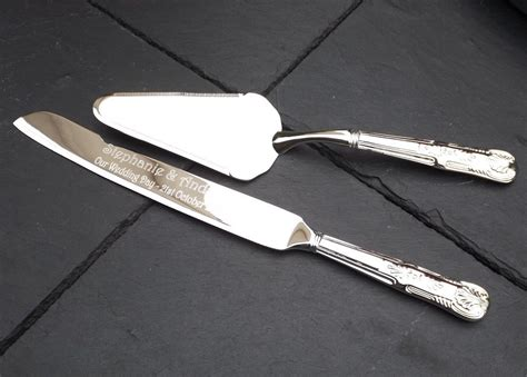 Wedding Gift Knife Set silver plated cake knife and server set personalised