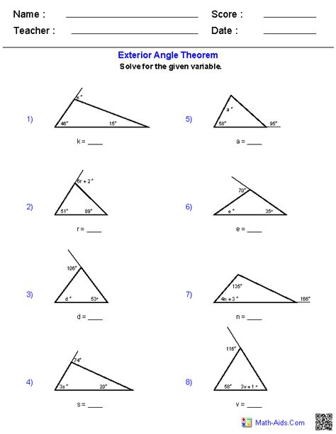 worksheet triangle sum and exterior angle theorem geometry worksheets triangle worksheets