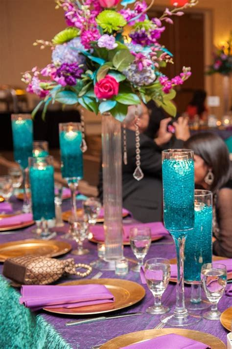 gorgeous purple and teal wedding reception decor