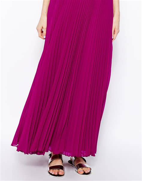 9 Gorgeous Maxi Skirts by Asos Pleated Maxi Skirt In Purple Lyst