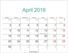 2018 Calendar With Holidays And Observances April 2018 Calendar Printable With Holidays Pdf And Jpg